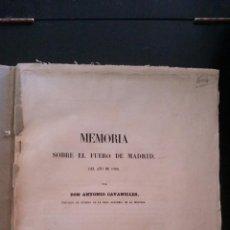 Libros antiguos: 1850 - ANTONIO CAVANILLES - MEMORIA SOBRE EL FUERO DE MADRID DEL AÑO DE 1202. Lote 143058618