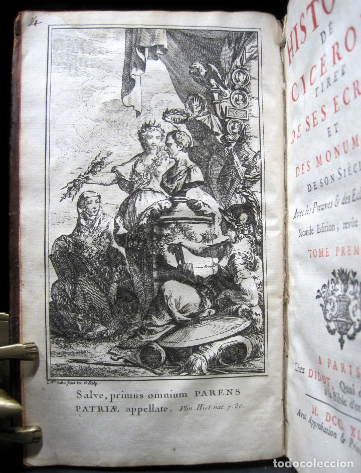 Libros antiguos: Año 1749 Historia de Cicerón Rara segunda edición parisina Frontispicio grabado Antigua Roma - Foto 4 - 153632570