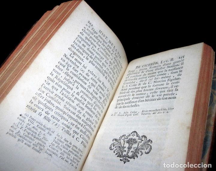 Libros antiguos: Año 1749 Historia de Cicerón Rara segunda edición parisina Frontispicio grabado Antigua Roma - Foto 9 - 153632570