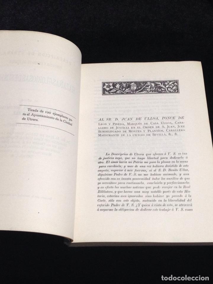 Libros antiguos: Descripcion de Utrera-Fundacion y adorno de sus templos y hazañas gloriosas de sus hijos. - Foto 3 - 153683368