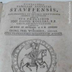 Libros antiguos: GENEALOGIA FAMILIA STAUFFEN DAVID KOHLER AÑO 1747 MUY RARO. Lote 154018646