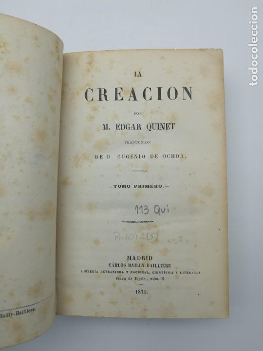 Libros antiguos: La creación de E Quintet 1871 en dos partes - Foto 2 - 155067914