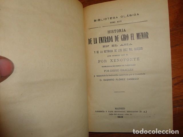 HISTORIA DE LA ENTRADA DE CIRO EL MENOR EN EL ASIA, XENOFONTE (Libros antiguos (hasta 1936), raros y curiosos - Historia Antigua)