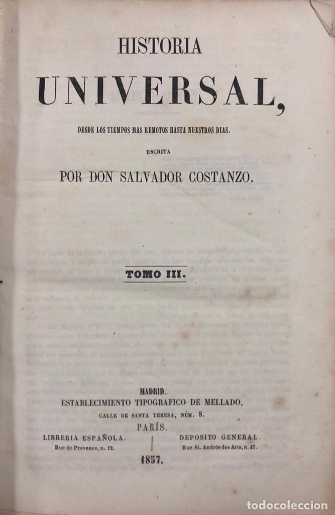 HISTORIA UNIVERSAL. TOMO III. SALVADOR COSTANZO. MADRID 1857. PAGS 296. (Libros antiguos (hasta 1936), raros y curiosos - Historia Antigua)