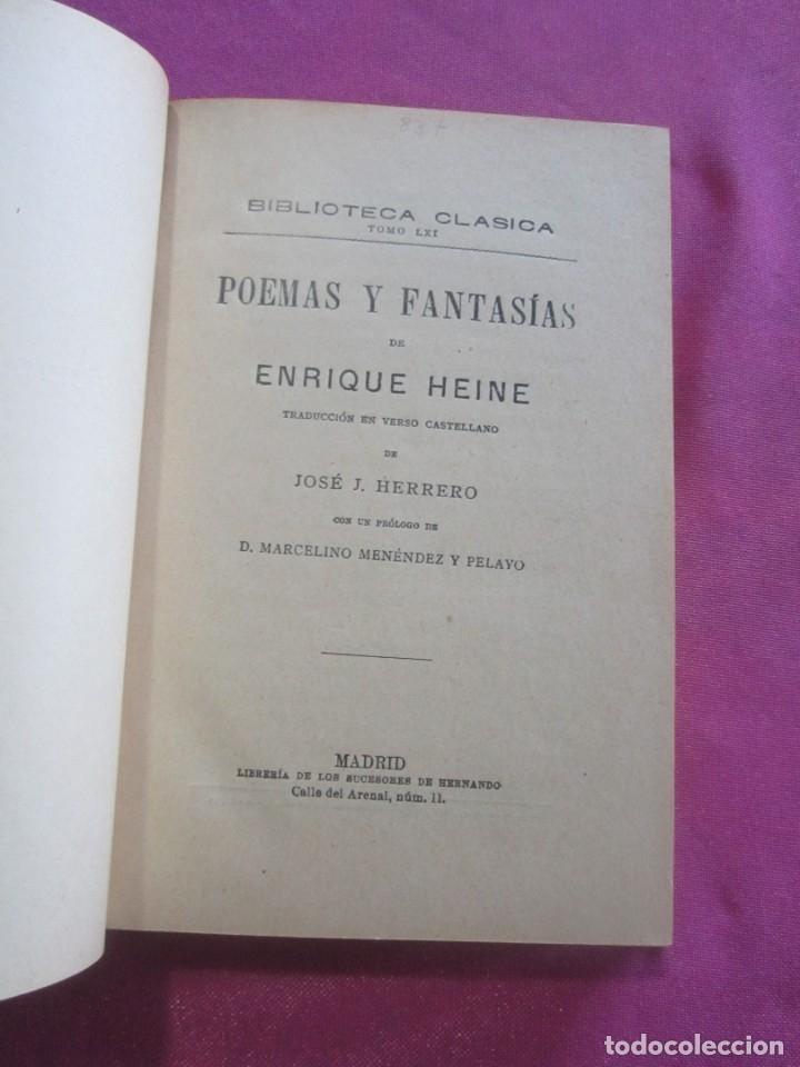 Libros antiguos: POEMAS Y FANTASIAS ENRIQUE HEINE BIBLIOTECA CLASICA 1900 . - Foto 3 - 46203027