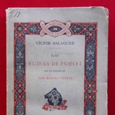 Libros antiguos: LAS RUINAS DEL POBLET. 1ª EDICIÓN. AÑO: 1885. VICTOR BALAGUER. IMPRENTA TELLO. BUEN ESTADO. . Lote 158521538