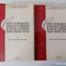 Libros antiguos: LIBRERIA GHOTICA. BARA.CATALOGO DE INFORMACIONES GENEALÓGICAS DE LA INQUISICIÓN.1970. 2 TOMOS. . Lote 159579770