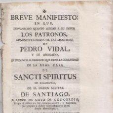 Libros antiguos: DERECHOS DE LA REAL CASA DE SANCTI SPIRITUS DE SALAMANCA, ORDEN DE SANTIAGO, 1751. Lote 159581390