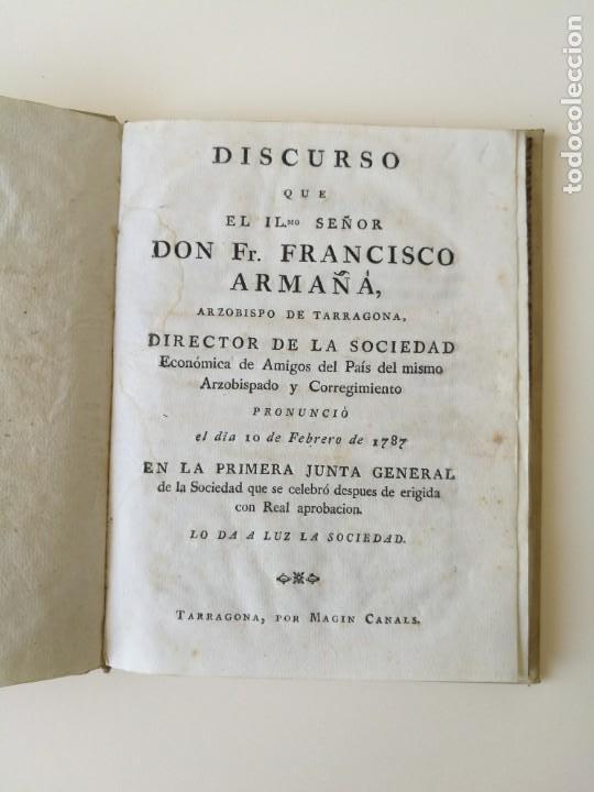 Libros antiguos: Libro 2 partes discurso Francisco Armaña y estatutos sociedad economica de Tarragona 1787 - Foto 2 - 164916734