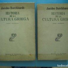 Libros antiguos: HISTORIA DE LA CULTURA GRIEGA (2 TOMOS) - JACOBO BURCKHARDT - REVISTA DE OCCIDENTE, 1935-36. Lote 166599406