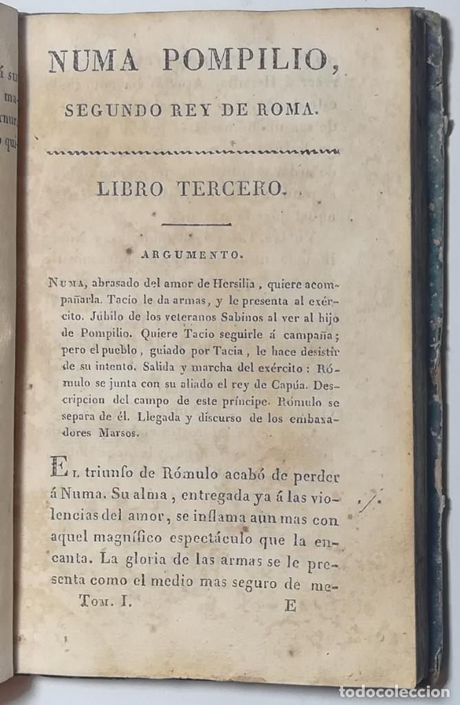 Libros antiguos: 2 TOMOS. NUMA POMPILIO, SEGUNDO REY DE ROMA ,POEMA DEL CABALLERO DE FLORIAN. 1818. - Foto 6 - 168048328