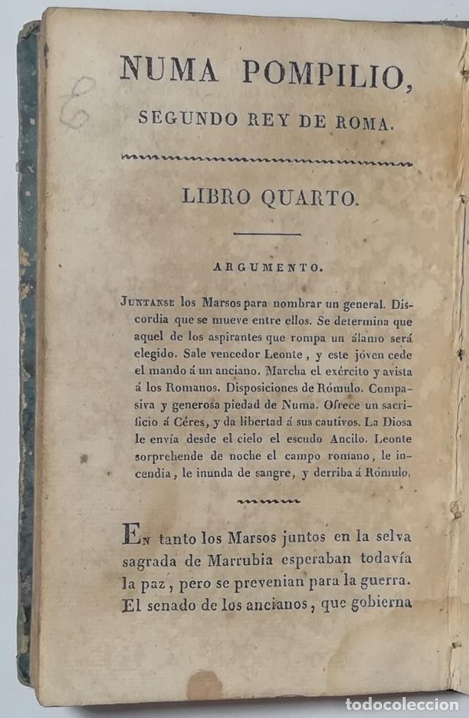 Libros antiguos: 2 TOMOS. NUMA POMPILIO, SEGUNDO REY DE ROMA ,POEMA DEL CABALLERO DE FLORIAN. 1818. - Foto 7 - 168048328