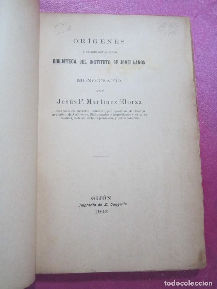 ORIGENES BIBLIOTECA DEL INSTITUTO DE JOVELLANOS DEDICADO AUTOR A ANICETO CELA (Libros antiguos (hasta 1936), raros y curiosos - Historia Antigua)