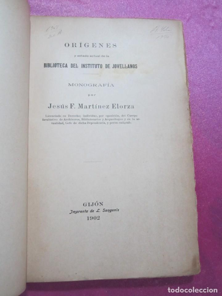 Libros antiguos: ORIGENES BIBLIOTECA DEL INSTITUTO DE JOVELLANOS DEDICADO AUTOR A ANICETO CELA - Foto 2 - 168231336