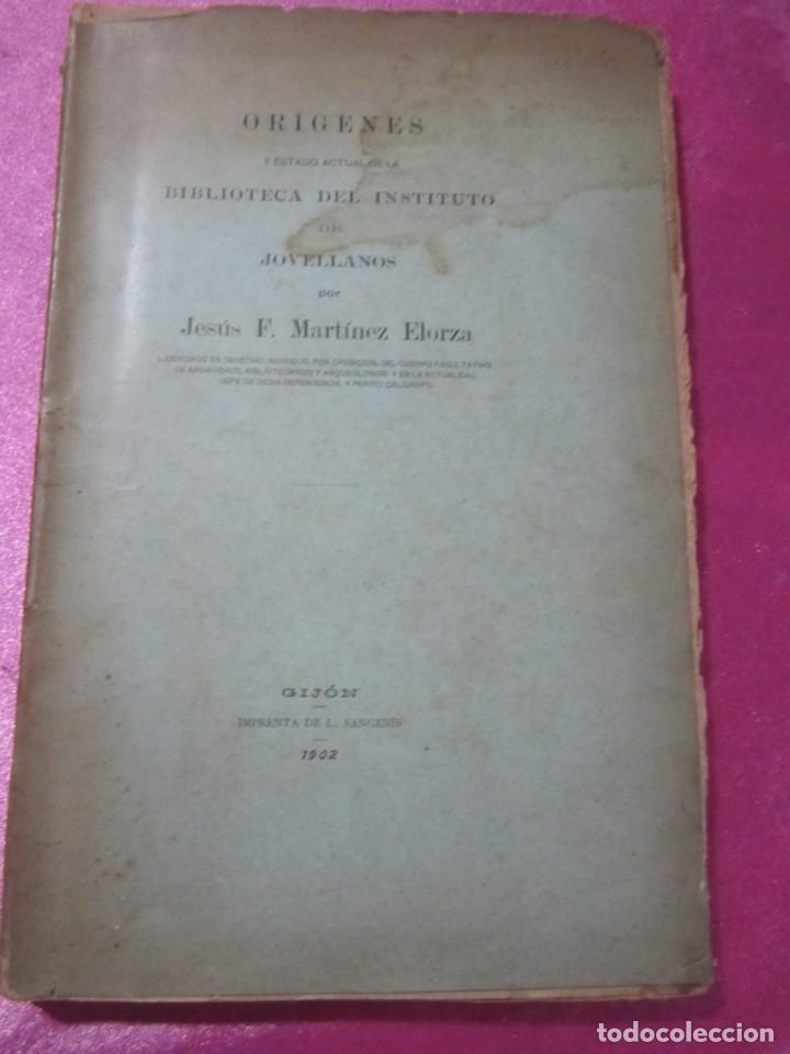 Libros antiguos: ORIGENES BIBLIOTECA DEL INSTITUTO DE JOVELLANOS DEDICADO AUTOR A ANICETO CELA - Foto 4 - 168231336