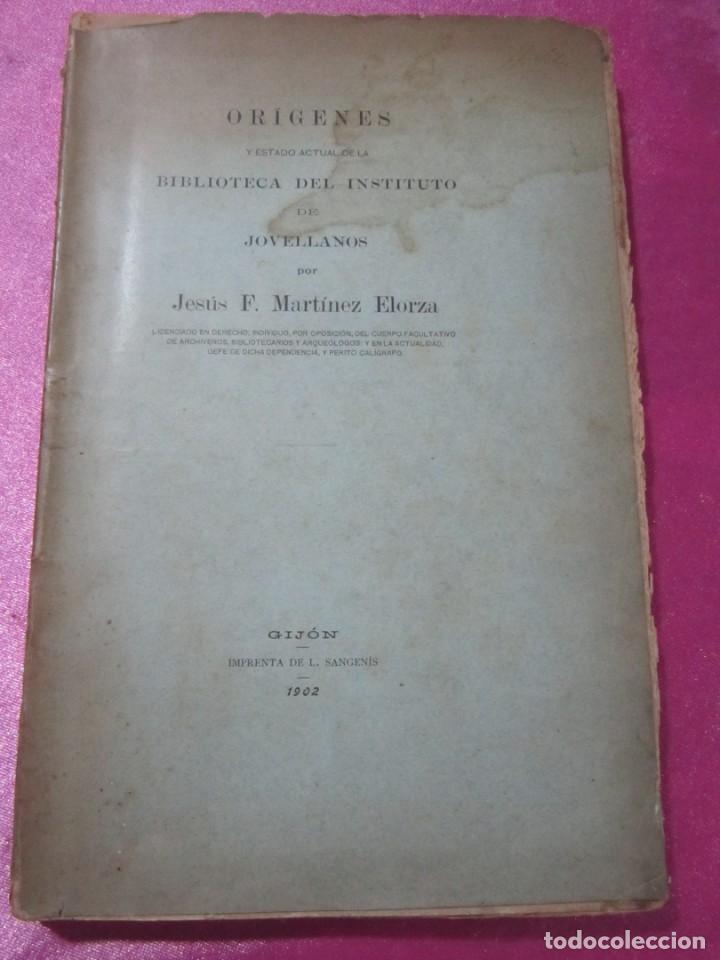 Libros antiguos: ORIGENES BIBLIOTECA DEL INSTITUTO DE JOVELLANOS DEDICADO AUTOR A ANICETO CELA - Foto 7 - 168231336