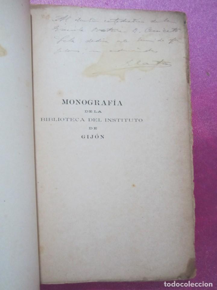 Libros antiguos: ORIGENES BIBLIOTECA DEL INSTITUTO DE JOVELLANOS DEDICADO AUTOR A ANICETO CELA - Foto 8 - 168231336