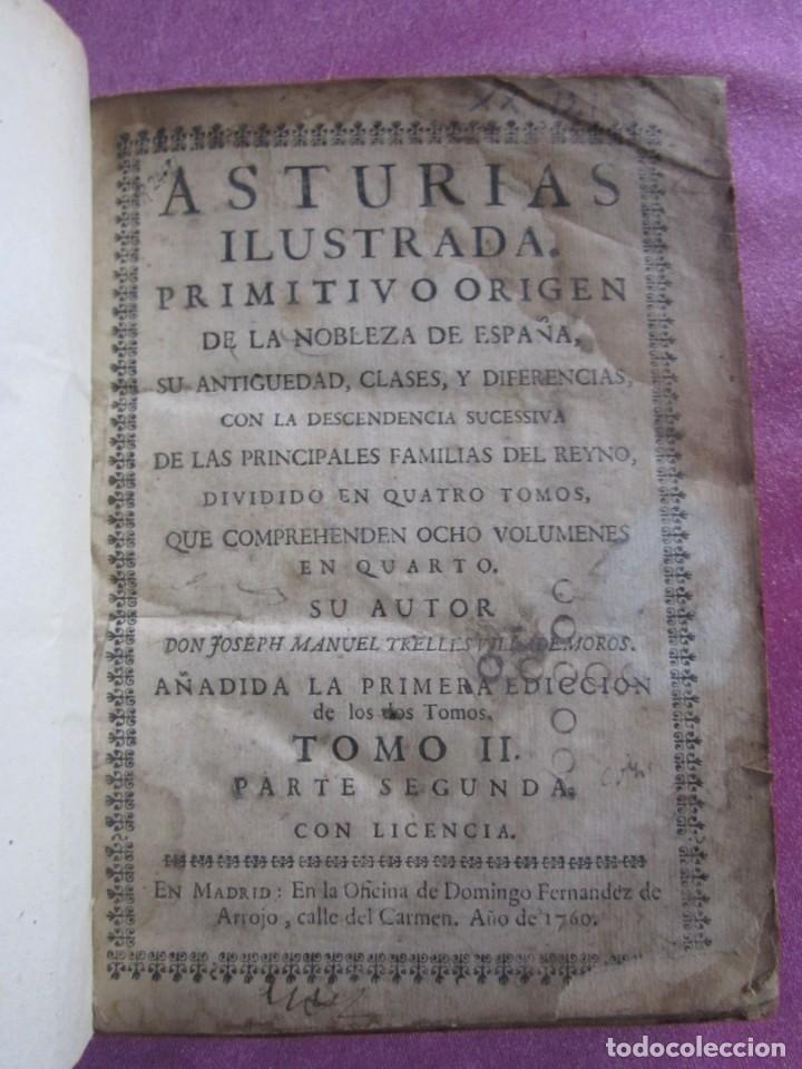 Libros antiguos: ASTURIAS ILUSTRADA MAÑUEL TRELLES TOMO 2 414 PAGINAS AÑO 1760 - Foto 3 - 169128036