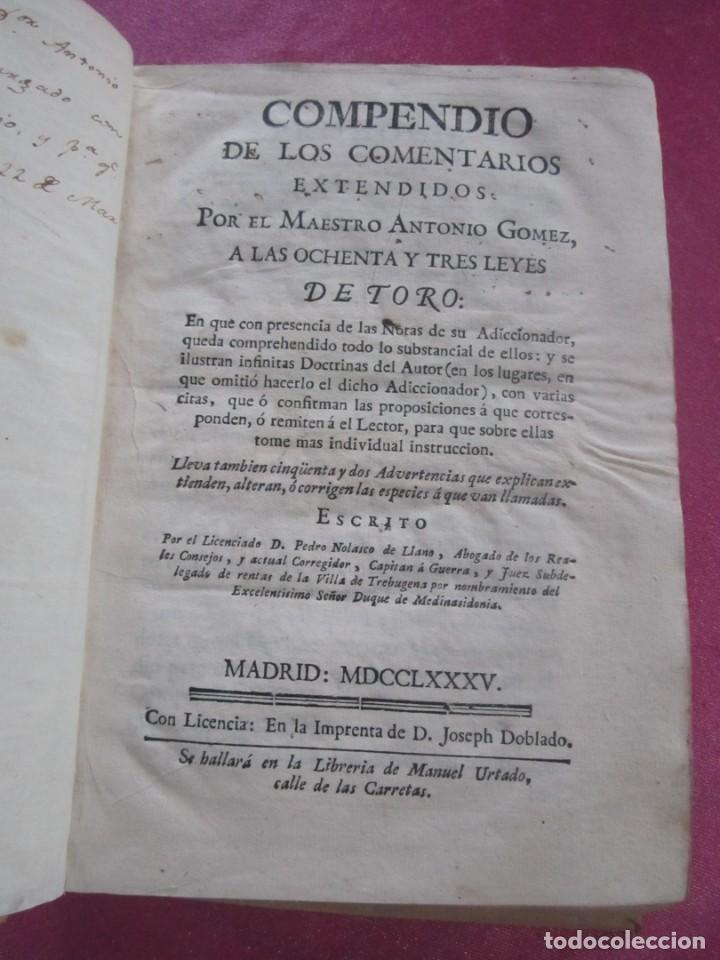 Libros antiguos: LAS LEYES DE TORO MAESTRO CON ESCRITO SANTO OFICIO 1785 .Y EXLIBRIS EXCELENTE - Foto 2 - 169227492
