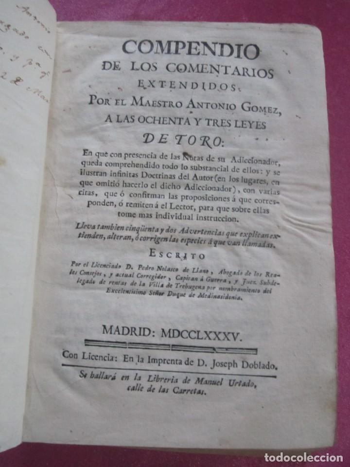 Libros antiguos: LAS LEYES DE TORO MAESTRO CON ESCRITO SANTO OFICIO 1785 .Y EXLIBRIS EXCELENTE - Foto 7 - 169227492