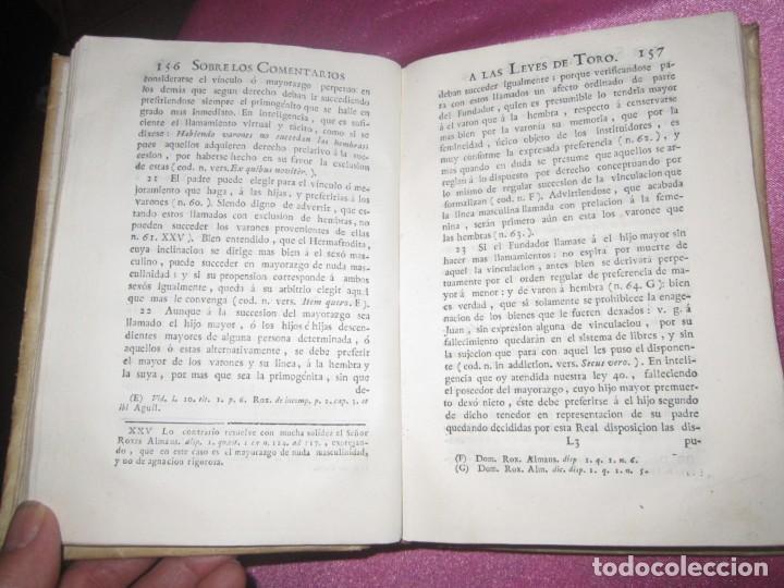 Libros antiguos: LAS LEYES DE TORO MAESTRO CON ESCRITO SANTO OFICIO 1785 .Y EXLIBRIS EXCELENTE - Foto 13 - 169227492