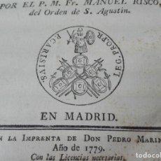 Libros antiguos: CONTESTACION A LA CANTABRIA VINDICADA 1779 MUY RARO. Lote 170882885