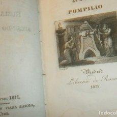 Libros antiguos: NUMA POMPILIO SEGUNDO REY DE ROMA MADRID LIBRERÍA RAZOLA 1831 CUERO 15,5 X 10,5 CM. GRABADOS 361 PG. Lote 171258927