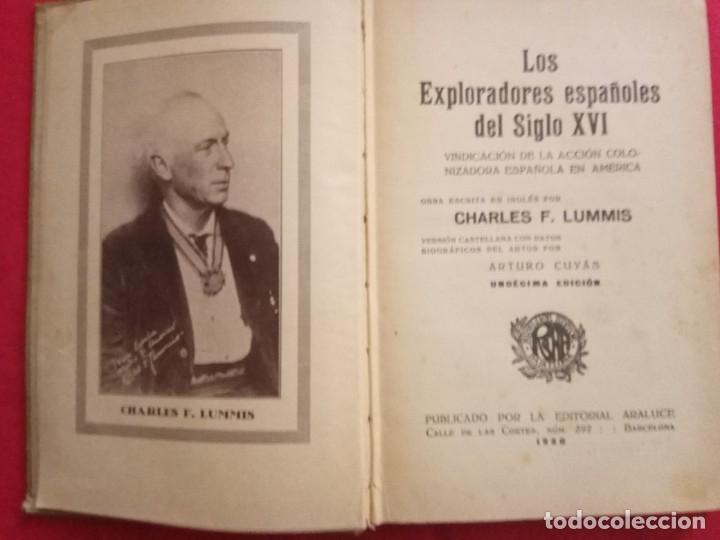 Libros antiguos: Los exploradores españoles del Siglo XVI. Ch. F. Lummis.CASA EDITORIAL ARALUCE.1930 - Foto 3 - 172580875