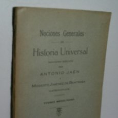 Libros antiguos: NOCIONES GENERALES DE HISTORIA UNIVERSAL. TOMO SEGUNDO. JAÉN ANTONIO. 1931. Lote 174317404