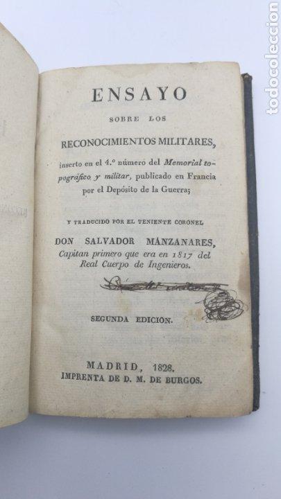 ENSAYO SOBRE LOS RECONOCIMIENTOS MILITARES 1829 (Libros antiguos (hasta 1936), raros y curiosos - Historia Antigua)