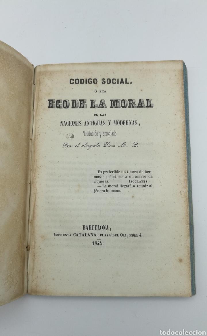 CODIGO SOCIAL O ECO DE LA MORAL DE LAS NACIONES ANTIGUAS Y MODERNAS 1844 (Libros antiguos (hasta 1936), raros y curiosos - Historia Antigua)