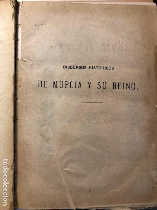 Libros antiguos: Discursos históricos de la ciudad de Murcia y su reino - Francisco Cascales - Foto 6 - 177086043