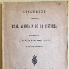 Libros antiguos: DISCURSOS- RAMON MENENDEZ PIDAL- CRONICA GENERAL ALFONSO X- AC. HISTORIA- MADRID 1.916. Lote 177501595