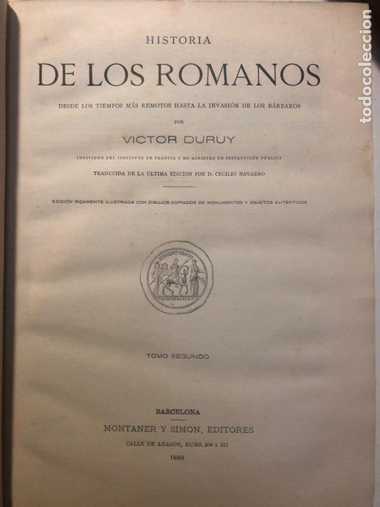 Libros antiguos: HISTORIA DE LOS ROMANOS. DURUY, Victor. Barcelona: Montaner y Simón, 1888. Folio. 2 tomos. - Foto 6 - 177595915