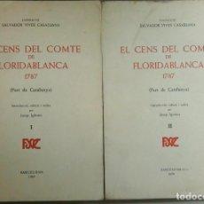 Libros antiguos: EL CENS DEL COMTE DE FLORIDABLANCA 1787, JOSEP IGLESIES, AÑO 1970, L11874. Lote 179319575