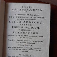 Libros antiguos: LEYES DEL FUERO JUZGO- RECOPILACIÓN DE LAS LEYES WISI GODOS ESPAÑOLES- VISIGODOS- SIGLO XVIII 1792. Lote 180119358
