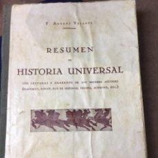 Libros antiguos: RESUMEN DE HISTORIA UNIVERSAL - F.ARRANZVELARDE 1932. Lote 181557415