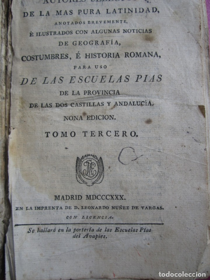Libros antiguos: COSTUMBRES E HISTORIA ROMANA ESCUELAS PIAS TOMO TERCERO AÑO 1830 - Foto 2 - 182273283