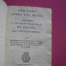 Libros antiguos: DISCURSO SOBRE LAS PENAS A LAS LEYES CRIMINALES DE ESPAÑA J. IBARRA 1782.. Lote 182403652