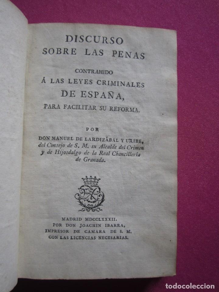 Libros antiguos: DISCURSO SOBRE LAS PENAS A LAS LEYES CRIMINALES DE ESPAÑA J. IBARRA 1782. - Foto 4 - 182403652