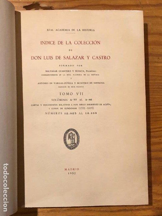 Libros antiguos: COLECCION SALAZAR-INDICES-D.LUIS SALAZAR Y CASTRO--7-TOMO VII(1952)(17€) - Foto 2 - 183856072