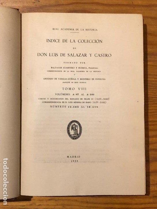 Libros antiguos: COLECCION SALAZAR-INDICES-D.LUIS SALAZAR Y CASTRO--8-TOMO VIII(1953)(17€) - Foto 2 - 183856478