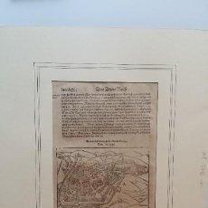Libros antiguos: SEBASTIAN MÜNSTER, PLIEGO DEL COSMOGRAPHIA, 1590 / 3 XILOGRAFIAS / TURINGIA. Lote 183891991