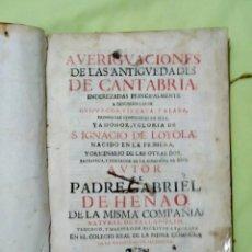 Libros antiguos: AVERIGUACIONES DE LAS ANTIGUEDADES DE CANTABRIA.. Lote 186096675