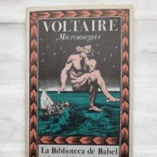 Libri antichi: MICROMEGAS, DE VOLTAIRE. LA BIBLIOTECA DE BABEL,MADRID 1988 SIRUELA. DIRIGIDA POR BORGES Y DISEÑADA. Lote 186927761