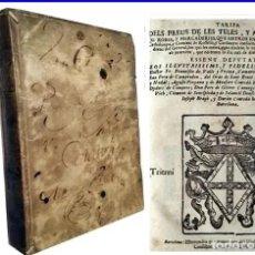 Libros antiguos: AÑO 1704: BARCELONA: PREUS DE LES TELES. CRIDAS, DEPUTATS PRINCIPAT CATALUNYA. EN CATALÁN. PERGAMINO. Lote 189082605