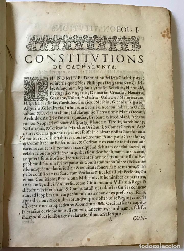 Libros antiguos: CONSTITUCIONS DE CATALUNYA FETES PER LA S.C.R. MAGESTAT DEL REY DON PHELIP SEGON REY DE CASTELL 1603 - Foto 2 - 189548600