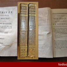 Libros antiguos: AÑO 1791: VIDA PRIVADA DEL MARISCAL RICHELIEU. 2 TOMOS DEL SIGLO XVIII.. Lote 194579891