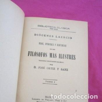Libros antiguos: : VIDAS OPINIONES DE LOS FILÓSOFOS MÁS ILUSTRES DIÓGENES LAERCIO TOMO 2 1914 EB2 - Foto 2 - 195230877
