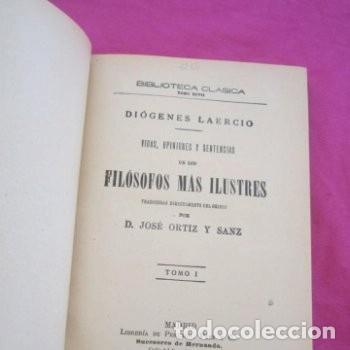 Libros antiguos: : VIDAS OPINIONES DE LOS FILÓSOFOS MÁS ILUSTRES DIÓGENES LAERCIO TOMO 2 1914 EB2 - Foto 3 - 195230877